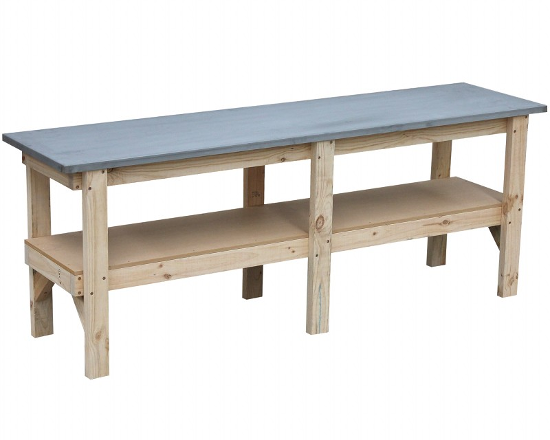 Work bench 2400 x 600 with steel laminated bench top
